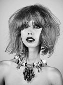 Fashion Accessories. Fashion Model With Naked Body And Red Lips. Girl With Bright Artificial Hair In poster