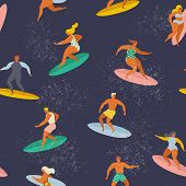 Surfing Boys And Girls On The Surf Boards Catching Waves In The Sea. Summer Beach Vector Seamless Pa poster