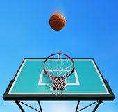 Basketball board on sky background
