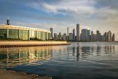 Morning View Of The Spectacular Chicago Skyline With The Pier, Lake Michigan And Aquarium In Foregro poster