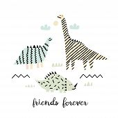Best Friends Of Dinosaurs. Childish Vector Illustration With Dinosaurs. Design For Poster, Card, Bag poster