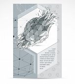 Computer Technologies Creative Advertisement Brochure. Vector Abstract Black And White 3d Mesh Broke poster