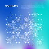 Physiotherapy Concept In Honeycombs With Thin Line Icons: Rehabilitation, Physiotherapist, Acupunctu poster