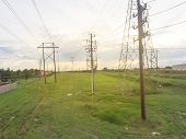 Bird Eye View Group Of Transmission Towers In Suburb Houston, Texas, Usa poster