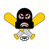 Criminal Logo. Robber Sign. Brass Knuckles And Baseball Bat. Rogue Head. Burglar Hat. Thief Vector I poster