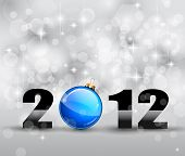 Colorful New Year Celebration Background with Glitter and Blue Bauble
