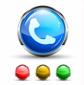 Phone Call Cristal Glossy Button with light reflection and Cromed ring. 4 Colours included.