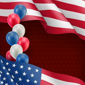 Usa Country Patriotic Greeting Background. Realistic Waving American Flag And Colorful Air Balloons. poster