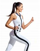 Young Fitness Woman Running With Bottle Of Water In Silhouette On White Background. Dynamic Movement poster