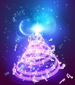 A Magic Music Musical Notes Christmas Tree Background Illustration Of A Holiday Christmas Tree Made  poster