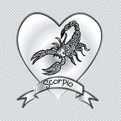 Zodiac Sign Scorpio In Zentangle  With Transparent Background. poster