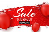 Web Banner For Sale. Red Grunge Line With Glitters. Red Balloons. White Background. Big Discounts. S poster