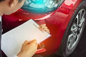 This Career Man Saleman Business Inspection Writing Note On Notepad Or Book, Paper With Car Blurry B poster