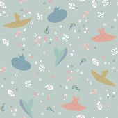 Seamless Pattern With Tutu Dress And Pointe Shoes . Flowers. Hand Drawn Design For Birthday And Baby poster