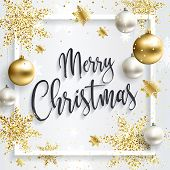 Square Christmas Card With Gold Sequins. Merry Christmas Calligraphic Inscription. White Clean Backg poster