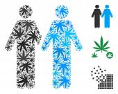 Gay Pair Collage Of Hemp Leaves In Variable Sizes And Color Tinges. Vector Flat Marijuana Leaves Are poster