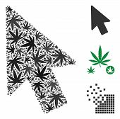 Mouse Pointer Mosaic Of Marijuana Leaves In Variable Sizes And Color Tones. Vector Flat Marijuana It poster