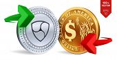 Nem To Dollar Currency Exchange. Neo. Dollar Coin. Cryptocurrency. Golden And Silver Coins With Nem  poster
