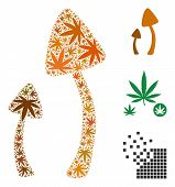 Psychedelic Mushrooms Collage Of Marijuana Leaves In Various Sizes And Color Hues. Vector Flat Marij poster
