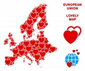 Lovely European Union Map Collage Of Red Hearts. We Like European Union Map Concept. Abstract Vector poster