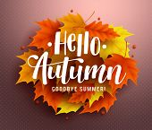 Hello Autumn Vector Background Design With Autumn Typography And Maple Leaves In Textured Background poster