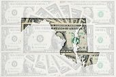 Outline Map Of Maryland With Transparent American Dollar Banknotes In Background