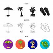 Brazil, Country, Umbrella, Beach . Brazil Country Set Collection Icons In Black, Flat, Outline Style poster