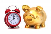 Alarm Bell And Golden Piggy Bank
