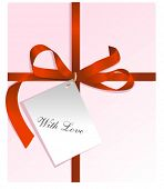 Present,red ribbon,card, for St. Valentine's day. Vector Illustration