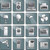 Icon set - home appliances: TV, stereo, computer, printer, lamp, shower, fan, fridge, washing machine, stove, microwave oven, hairdryer, cell phone, telephone, digital camera. Vector illustration