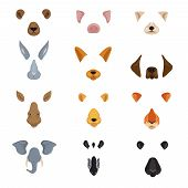 Funny Animal Faces For Phone Video Chart App. Cartoon Animals Ears And Noses Vector Set. Animal Face poster