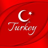 A Moon With A Star On A Background Of Wavy Curved Red Ribbons The Theme Of The Turkish Flag On The N poster