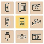 Device Icons Set With Media Device, Loudspeaker, Battery And Other Universal Serial Bus Elements. Is poster
