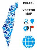 Israel Map Collage Of Blue Triangle Items In Various Sizes And Shapes. Vector Polygons Are Organized poster