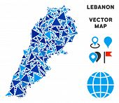 Lebanon Map Collage Of Blue Triangle Items In Variable Sizes And Shapes. Vector Polygons Are Combine poster