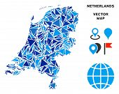 Netherlands Map Collage Of Blue Triangle Elements In Different Sizes And Shapes. Vector Polygons Are poster