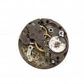 Vintage Old Clockwork Face Isolated On The White Background poster