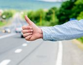 Cultural Difference. Thumb Up Inform Drivers Hitchhiking. But In Some Cultures Gesture Offensive Ris poster