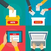 Ballot Voting Box Vote Polling Banner Concept Set. Flat Illustration Of 4 Ballot Voting Box Vote Pol poster
