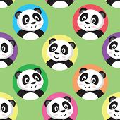 Cute Little Panda Seamless Pattern. Color Circles On A Green Background. Flat Slyle poster