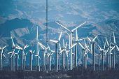 California Wind Power Plant. Coachella Valley, Usa. Renewable Energy Theme. poster