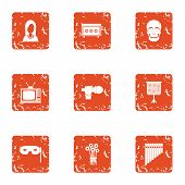 Screen Performance Icons Set. Grunge Set Of 9 Screen Performance Vector Icons For Web Isolated On Wh poster