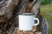 Campfire Enamel Mug Mockup With Stump poster