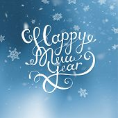 Vector Illustration Christmas And Happy New Year. Blurred Blue Background. Falling Snow. Wallpaper.  poster