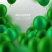 Stock Vector Illustration Party Flying Green Realistic Balloons. Defocused Macro Effect. Templates F poster