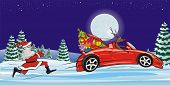 red nosed reindeer and his red car