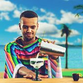 Selective Focus On Handsome, Smiling Mexican Bartender Standing On The Bar Counter On The Beach And  poster