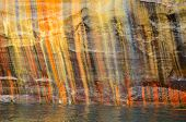 Colorful Streaks On Cliff Wall At Pictured Rocks National Lakeshore