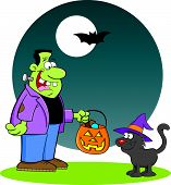 image of frankenstein  - Cartoon illustration of Frankenstein with a cat - JPG