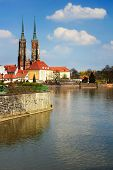 Twin Towers On Ostrow Tumski In Wroclaw, Poland, Odra River